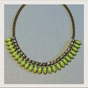 J Crew Fringe Neon Lime Crystal Statement Necklace